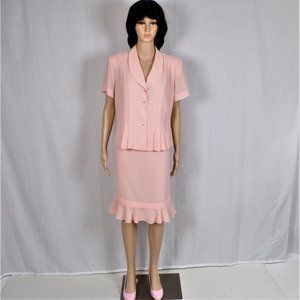 Pink suit size 14P skirt + jacket 100% polyester